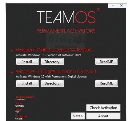 phan mem kich hoat ban quyen win 10 Teamos Activator 7