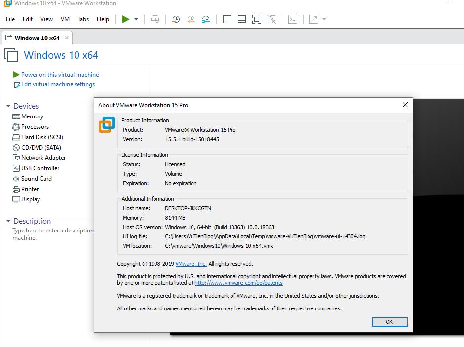 key ban quyen VMware Workstation 15.5.1 Pro