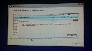 fix Windows cannot be installed to this disk. The selected disk is of the GPT partition style