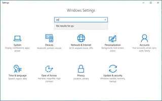 Settings windopws 10