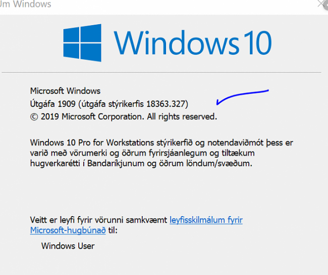 update Windows 10 1909