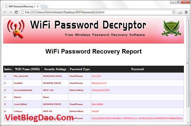 setup WiFi Password Decryptor 13.0