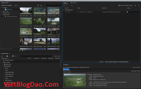 setup Adobe Media Encoder 2020